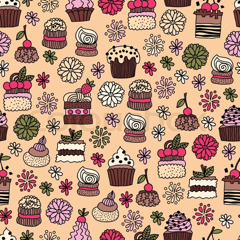 Seamless Pattern Of Hand Drawn Doodle Cakes Desserts Stock Vector