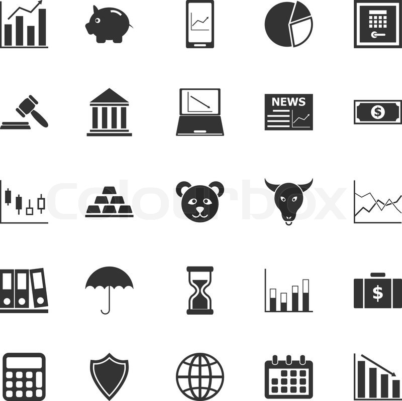 Stock Market Icons Inky Vector Art