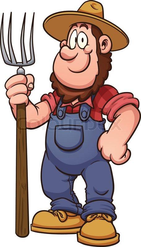 Cartoon farmer. Vector clip art illustration with simple ...
