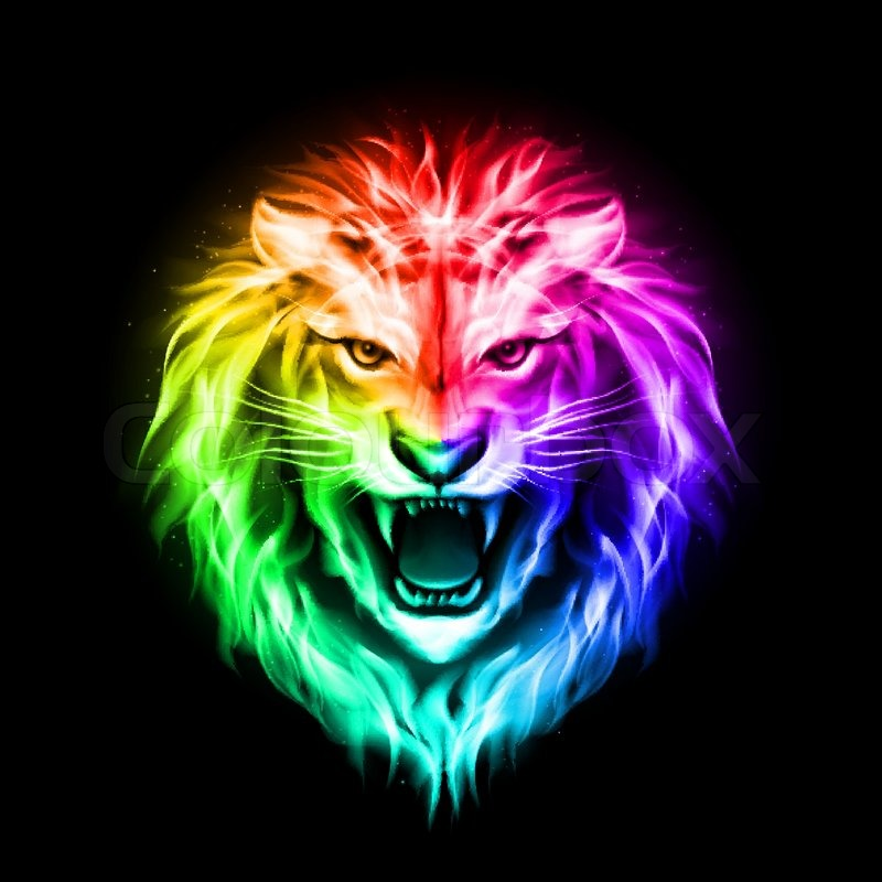 Head of aggressive fire lion in spectrum on black