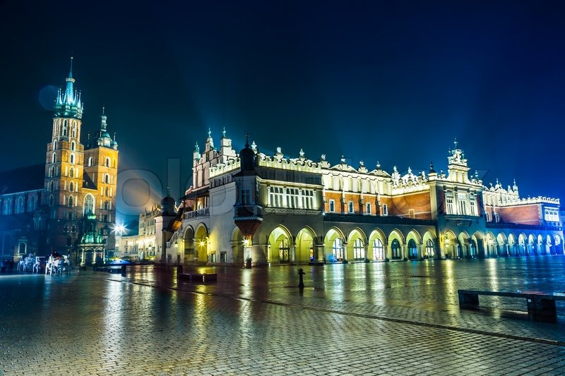 Krakow old city at night Market Square at night Stock Photo Colourbox - Favorite House Plans
