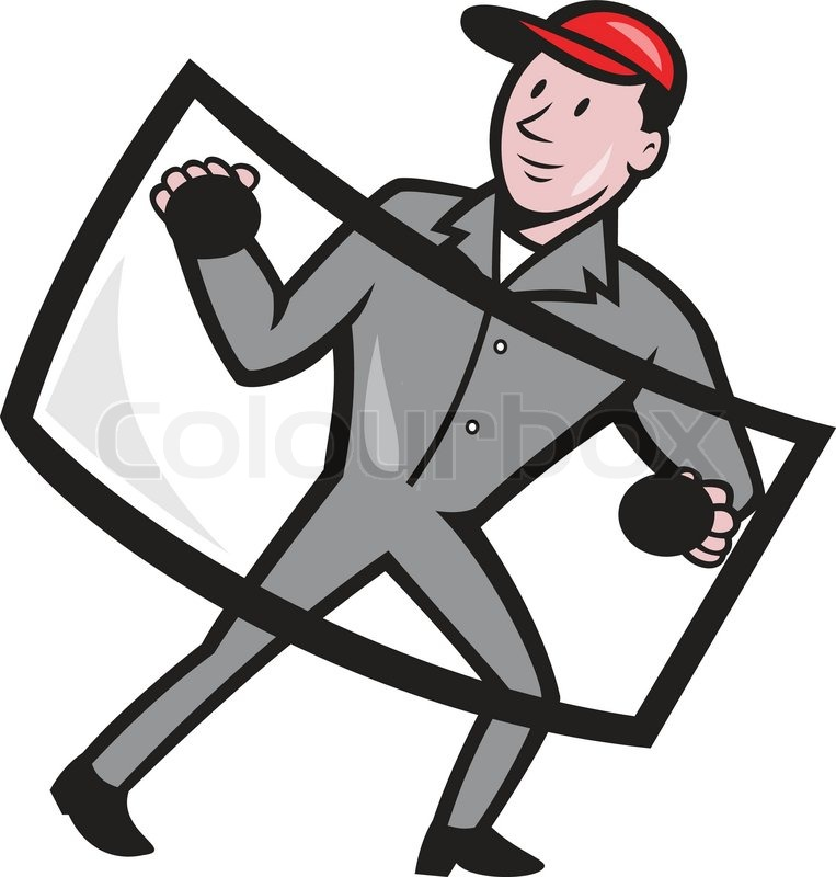 Illustration of automotive glass installer carrying windshield ...
