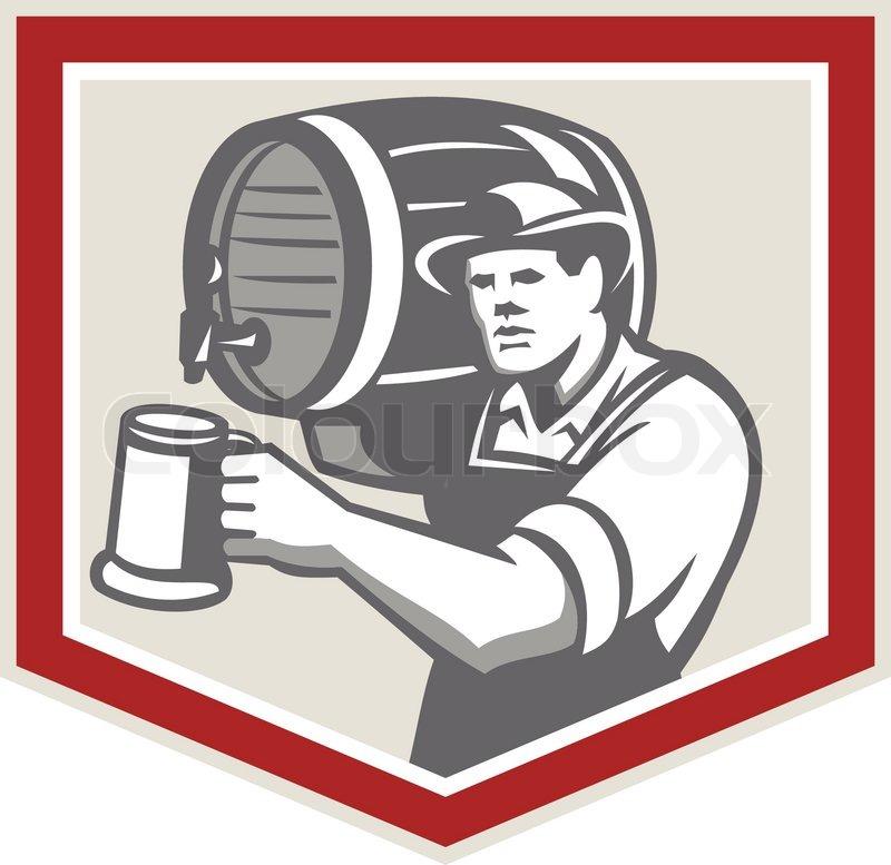 Barman heben Fass Bier Becher Retro Gießen | Vektorgrafik | Colourbox