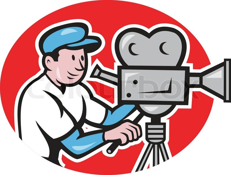 Illustration Of A Cameraman Movie Director With Vintage Film Camera Set Viewed From Side Done In Cartoon Style
