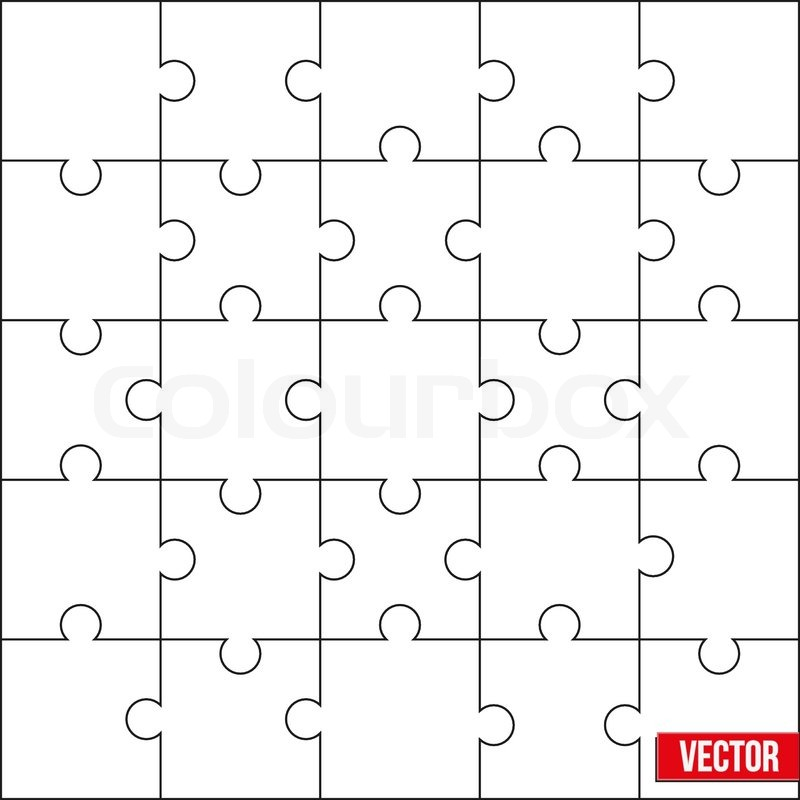 Sample Of Jigsaw Square Puzzle Blank Template Or Cutting Guidelines Vector Illustration Editable And Isolated