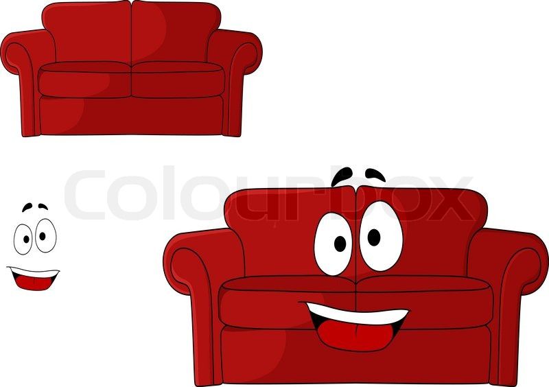 Fun cartoon upholstered red couch, settee or sofa with a big happy smile isolated on white ...