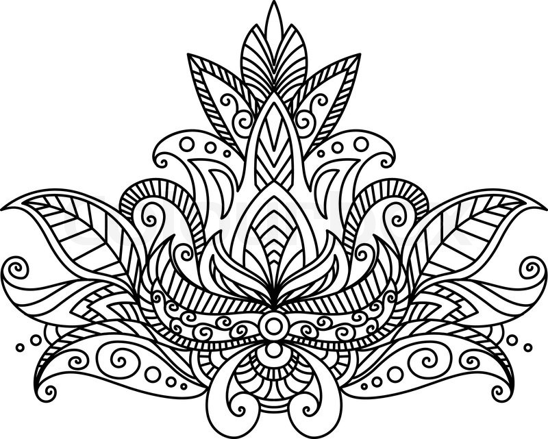 persian or indian paisley floral element isolated on white