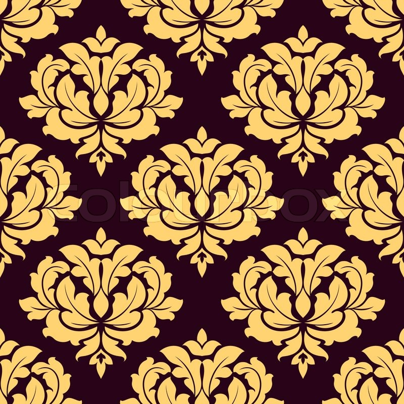 Pretty gold and brown damask style seamless pattern with for Arabesque style decoration