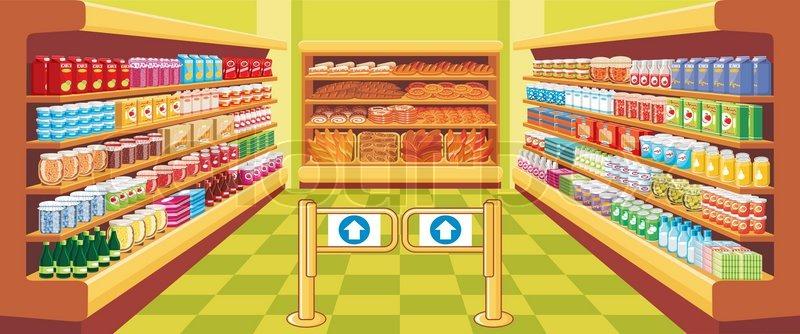 Supermarkt gebäude clipart  Supermarkt | Vektorgrafik | Colourbox