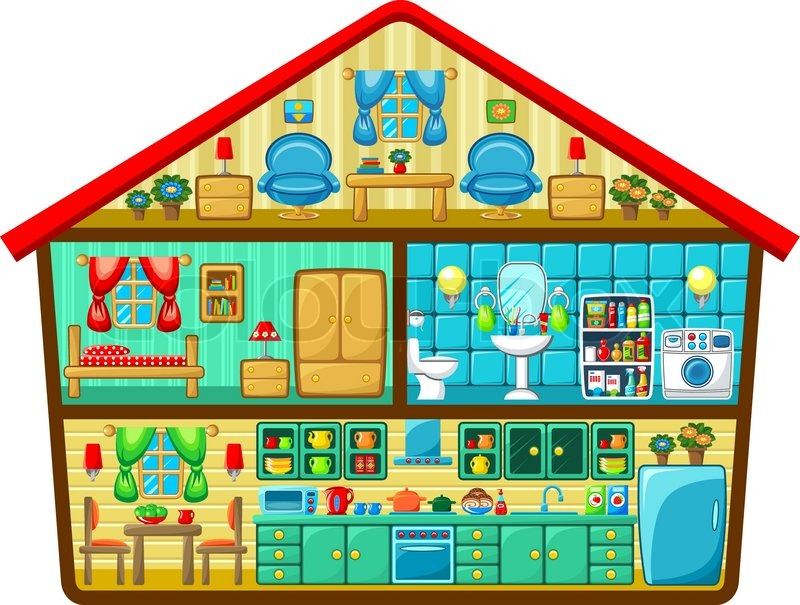 Cartoon haus im schnitt stock vektor colourbox for Find a house online