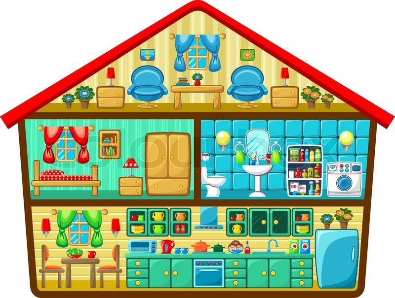 Cartoon house in a cut. Vector illustration | Stock Vector ...