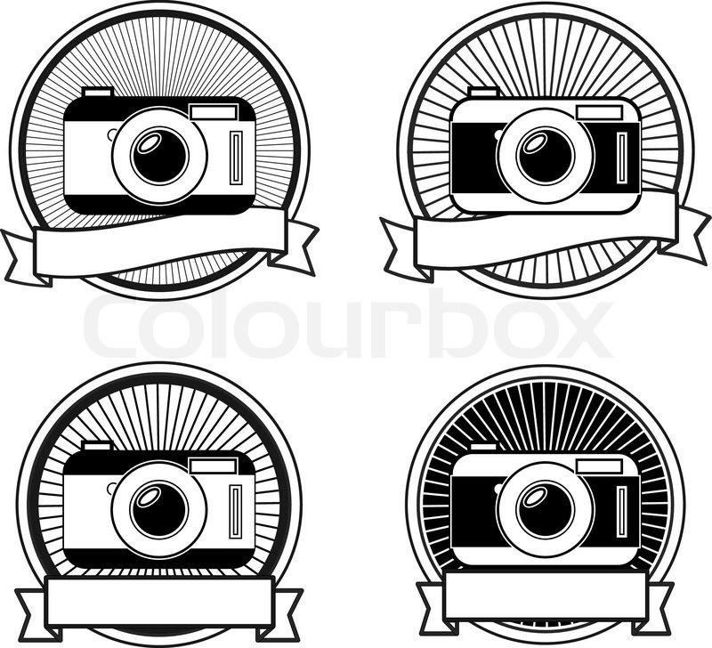 Black And White Camera Stamps Vintage Icons