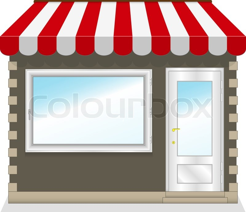 Cute Shop Icon With Red Awnings Illustration Stock