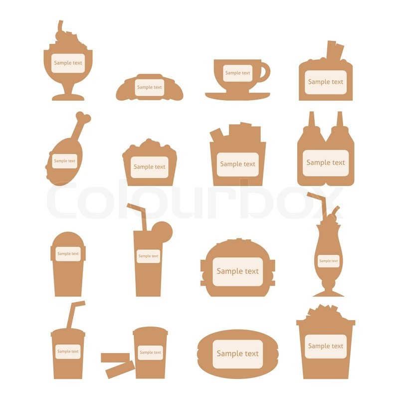 Set Of Fast Food Icons With Place For Stock Vector