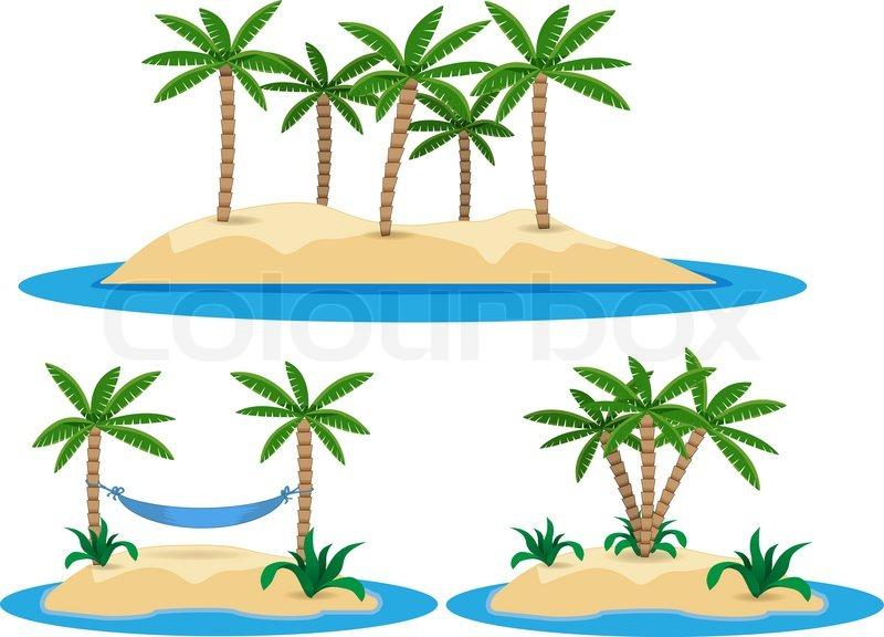 Abbildung der isolierten insel mit palmen vektorgrafik for Koch englisch