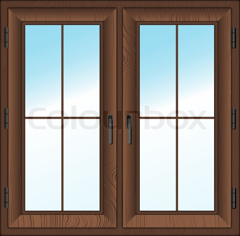 Wooden Textured Closed Window Isolated White Vector