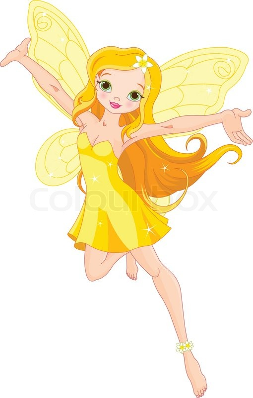 Illustration of a cute yellow fairy in flight | Stock ...