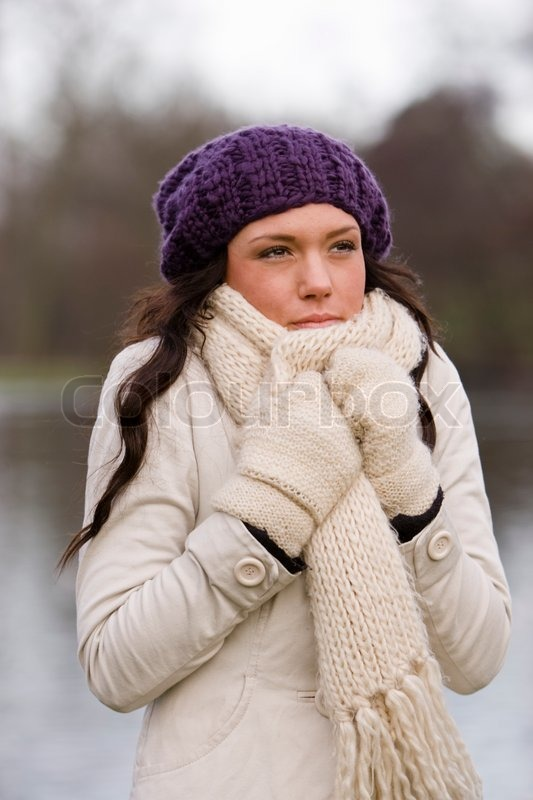 a caucasian woman freezing despite wearing winter clothes stock photo colourbox. Black Bedroom Furniture Sets. Home Design Ideas