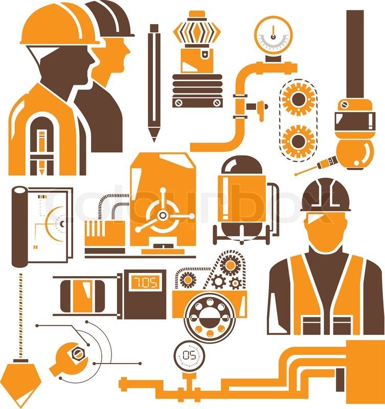 Industrial Engineering Set Stock Vector Colourbox