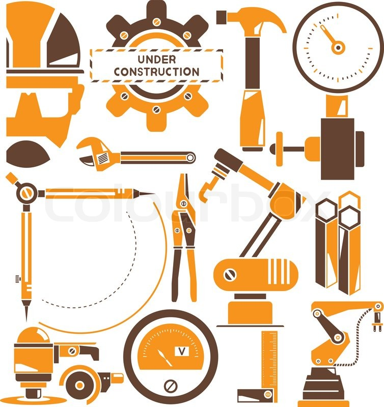 Robot Industrial Engineering Set Stock Vector Colourbox