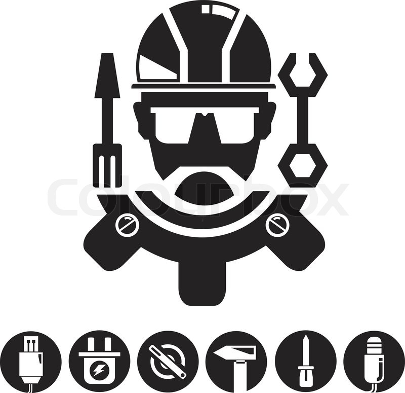 Engineering tools buttons stock vector colourbox for Logo drawing tool