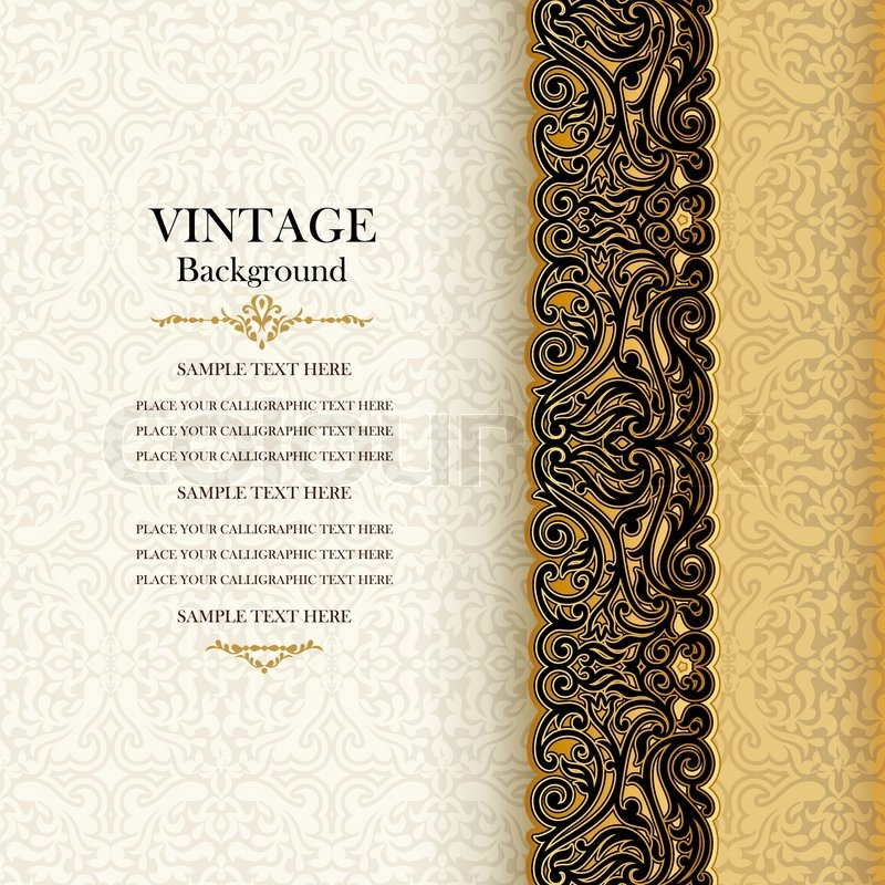 9868018 vintage background antique invitation card royal greeting with lace and floral ornament beautiful luxury postcard ornate page cover ornamental pattern template layout for design