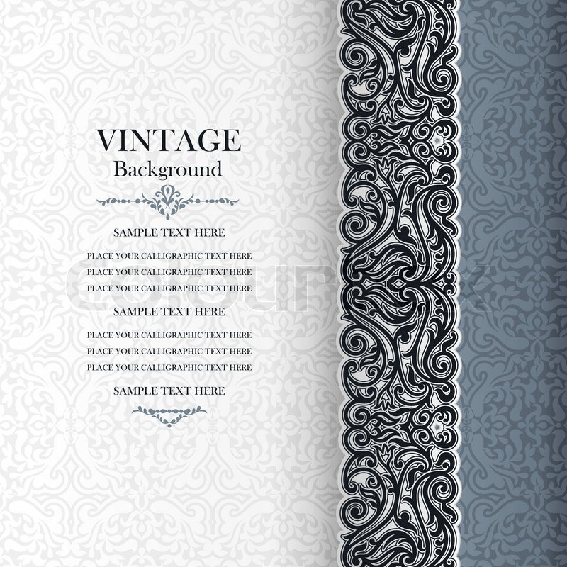 Vintage Background Antique Invitation Card Royal Greeting With Lace And Floral Ornament