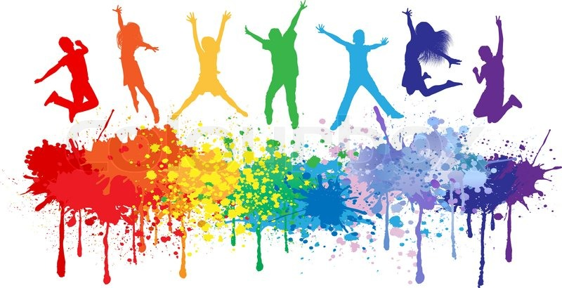 colorful bright ink splashes and kids jumping on white Praying Silhouette children's praying hands clipart
