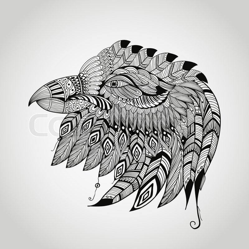 Line Drawing Eagle : Vector tattoo black hand drawn highly detailed eagle head