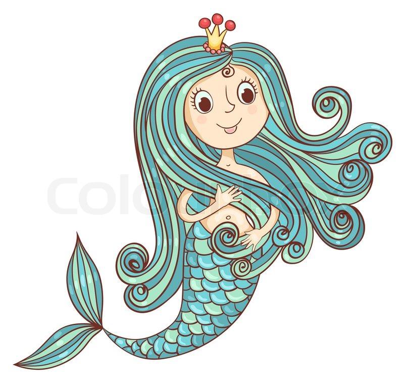 mermaid princess isolated on white vector cartoon illustration vector