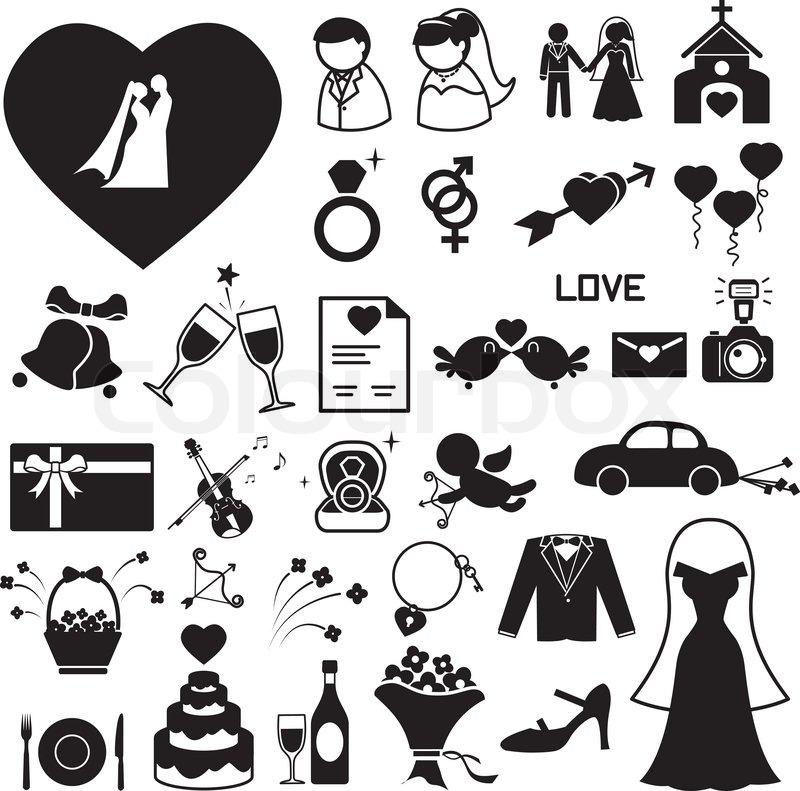Abbildung Eps10 Set Hochzeit Symbole Vektorgrafik Colourbox