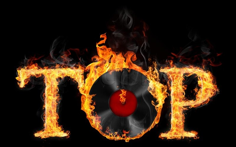 Illustration Of Word Quot Top Quot With Vinyl Record In Fire On