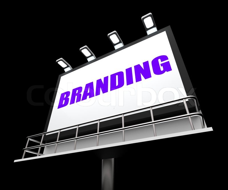 Branding Media Sign Indicating Company Brand Labels, stock photo