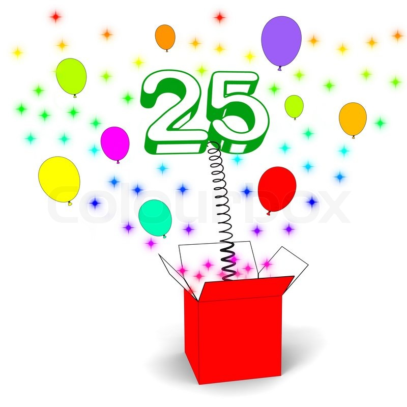 Number Twenty Five Surprise Box Meaning Beautiful Creativity And Surprise, stock photo