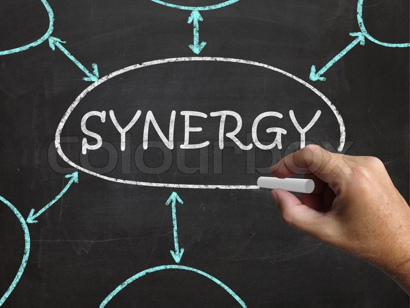 Synergy Blackboard Meaning Joint Effort And Cooperation, stock photo