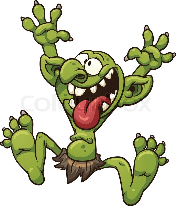 crazy cartoon troll vector clip art illustration with simple