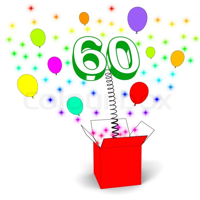 Number Sixty Surprise Box Showing Elderly Surprise Party Or Celebration, stock photo