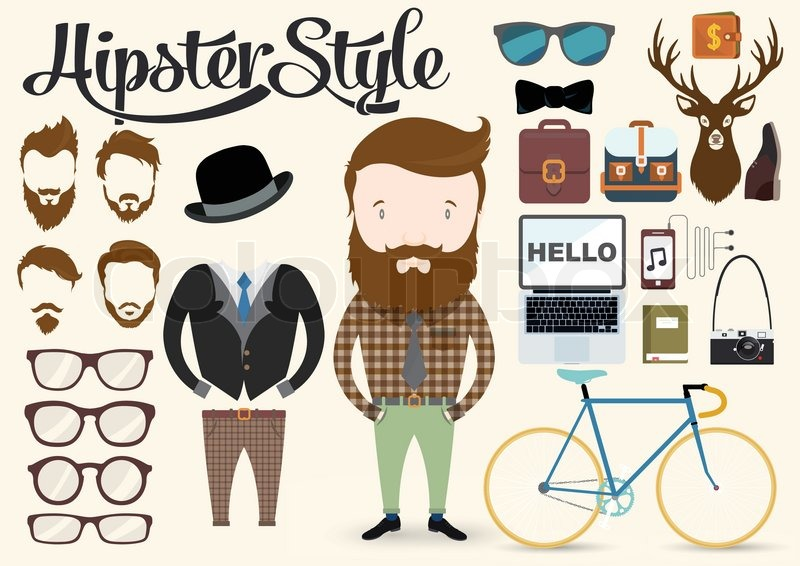 Hipster character illustration in info graphic concept ...