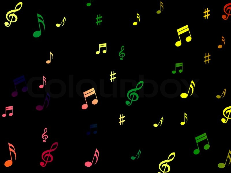 Musical Notes Background Showing Creative Composition Or Tone, stock photo