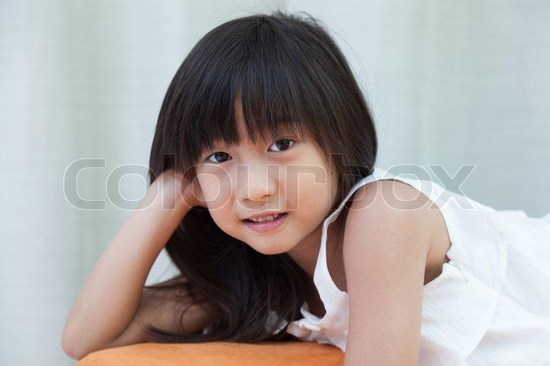 Portrait asia girl black long hair in home studio, stock photo