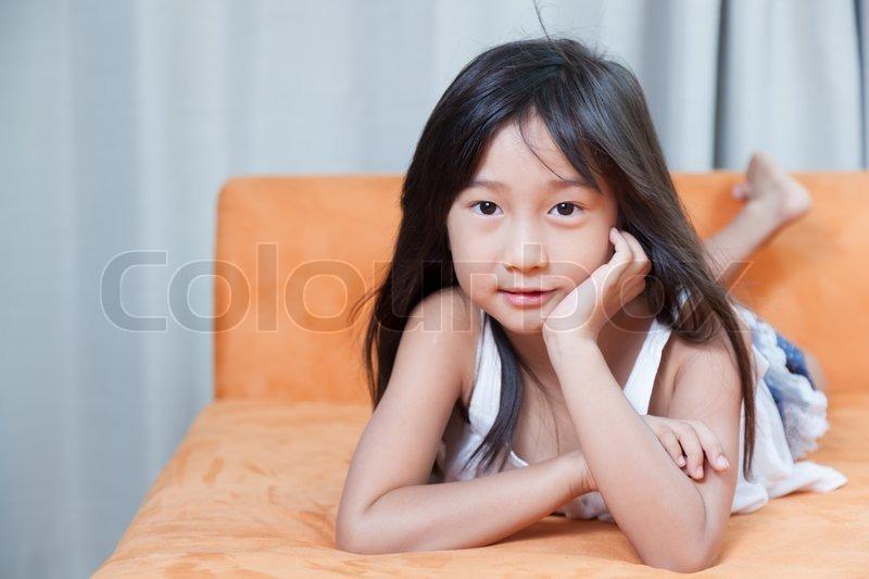 Portrait asia girl.black long hair.smiling active, stock photo