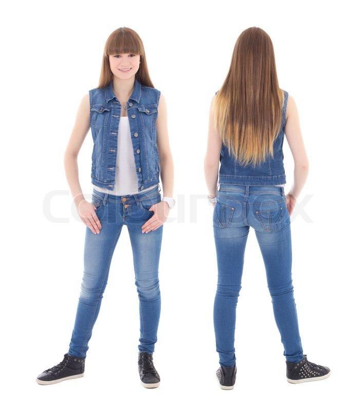 vorder und r ckseite blick auf s e teenager m dchen in jeans kleidung isoliert auf weiss. Black Bedroom Furniture Sets. Home Design Ideas