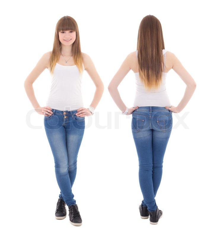 front and back view of teenage girl in white t shirt isolated on