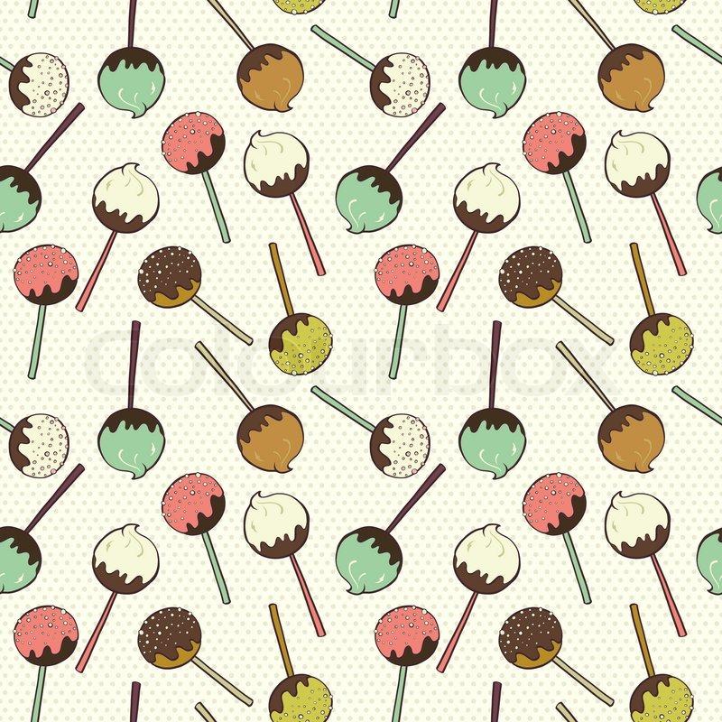 Cute seamless pattern made of hand drawn doodle chocolate and cute seamless pattern made of hand drawn doodle chocolate and caramel candies on polka dot background cartoon sweets background stock vector colourbox sciox Gallery