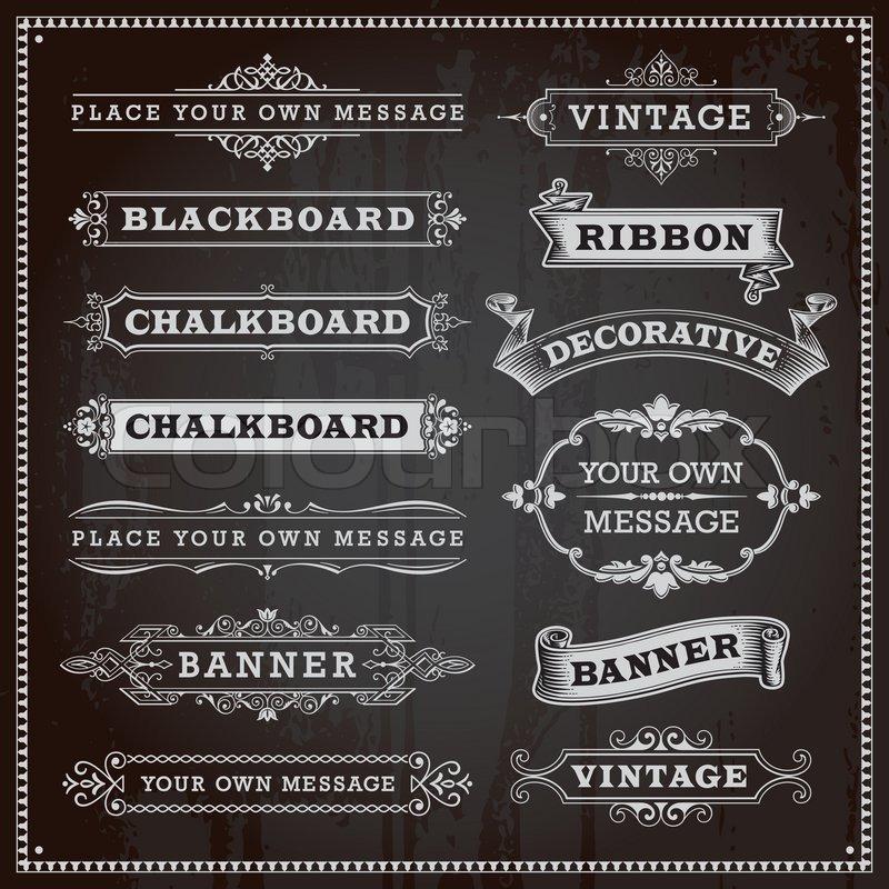 vintage design elements banners frames and ribbons chalkboard
