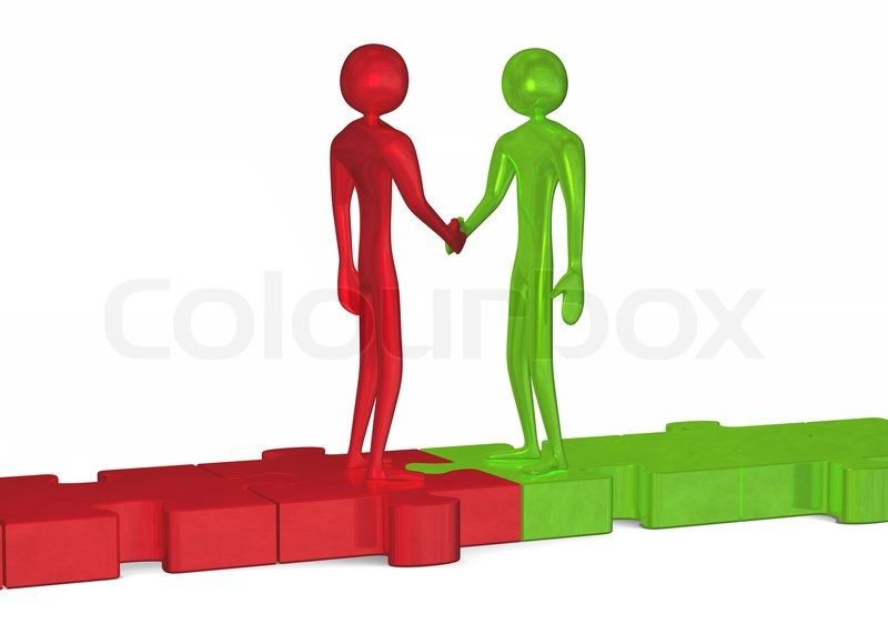 Stock image of 'Green and red 3d people standing on puzzles shaking hands isolated on white'