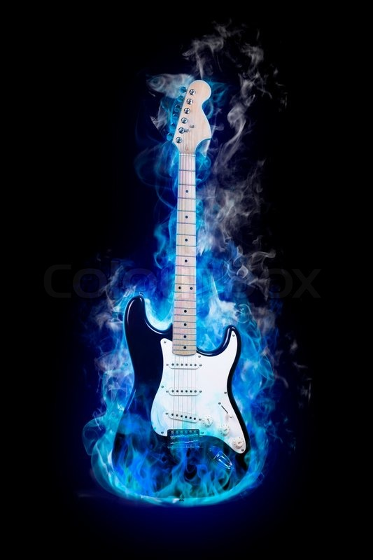 Electric Guitar In Flames On Black Background