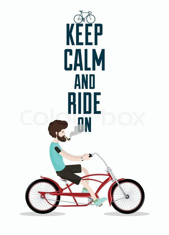 Retro Bicycle Illustration With Hipster Character | Vector ...