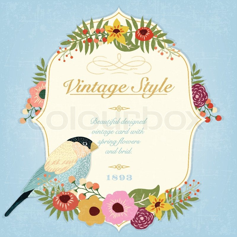 Beautiful vintage vector card with bird and spring flowers stock beautiful vintage vector card with bird and spring flowers vector mightylinksfo Gallery