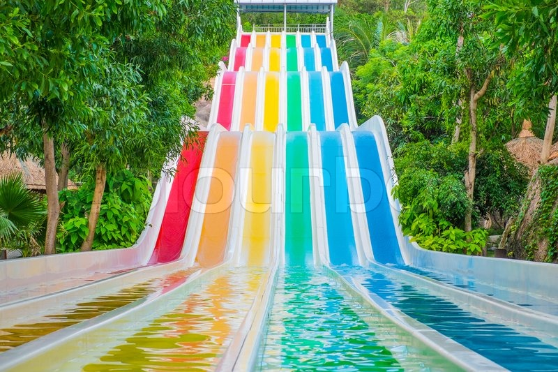 Stock image of 'Colorful waterslides in water park, Vietnam, Southeast Asia'